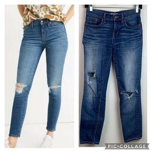 Madewell Skinny skinny destroyed crop jeans EUC